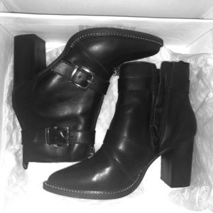 Halle Black Leather Boots